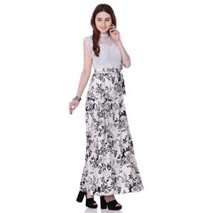 AAYU Women's Floral Printed Long Net Yoke Dress