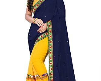 RIVA ENTERPRISE Women's Georgette Saree with Blouse Piece, Free Size (Blue, RIVA38_)