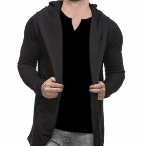 Veirdo Men's Cotton Regular Fit Hooded Cardigan