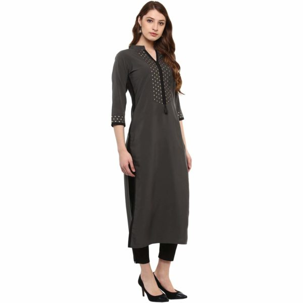 Ziyaa Women's Grey Colour 3/4Th Sleeve Crepe Straight Kurta