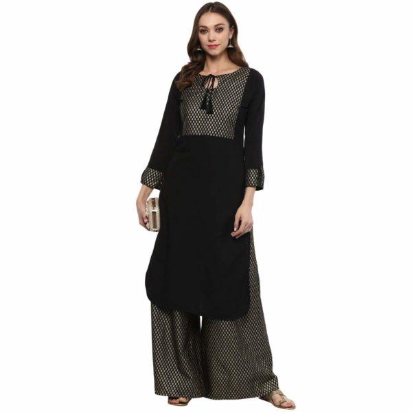Ziyaa women's Black kurta Straight Crepe Gold Foil Print